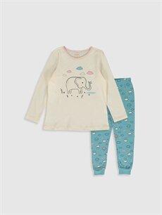Ekru Kız Çocuk Baskılı Pamuklu Pijama Takımı 9WT484Z4 LC Waikiki
