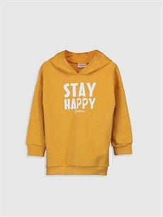Sarı Kız Çocuk Baskılı Kapüşonlu Sweatshirt 9WT606Z4 LC Waikiki