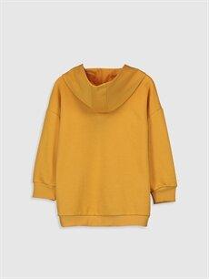 %67 Pamuk %33 Polyester  Kız Çocuk Baskılı Kapüşonlu Sweatshirt