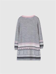 %100 Akrilik Diz Üstü Desenli Kız Çocuk Desenli Kalın Triko Elbise