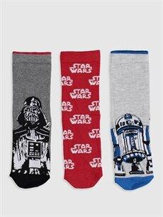 %42 Pamuk %14 Poliester %42 Poliamid %2 Elastan  Erkek Çocuk Star Wars Soket Çorap 3'lü