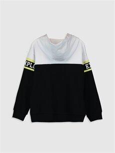 %84 Pamuk %16 Polyester  Kız Çocuk Nasa Baskılı Kapüşonlu Sweatshirt