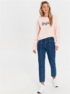 Kadın Pul Yazı İşlemeli Sweatshirt
