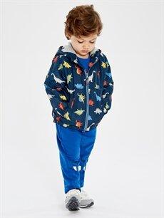 %100 Polyester Erkek Bebek Desenli Kapüşonlu Fermuarlı Mont