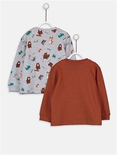 %68 Pamuk %32 Polyester  Erkek Bebek Desenli Sweatshirt 2'li