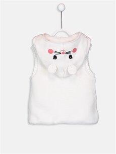 %100 Akrilik %100 Polyester Kalın Yelek Kız Bebek Kalın Kapüşonlu Triko Yelek