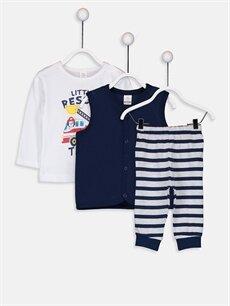 Beyaz Erkek Bebek Pijama Takımı 3'lü 9W1288Z1 LC Waikiki