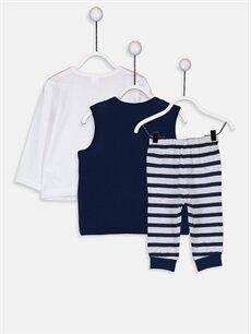 %100 Pamuk Standart Pijamalar Erkek Bebek Pijama Takımı 3'lü