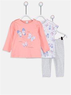 Mercan Kız Bebek Pamuklu Baskılı Pijama Takımı 3'lü 9W1342Z1 LC Waikiki