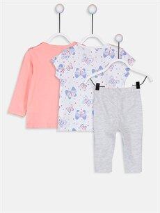 %100 Pamuk Standart Pijamalar Kız Bebek Pamuklu Baskılı Pijama Takımı 3'lü