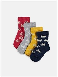 Çok Renkli Erkek Bebek Desenli Soket Çorap 4'lü 9W2120Z1 LC Waikiki