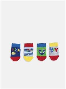 %82 Pamuk %17 Poliamid %1 Elastan  Erkek Bebek Desenli Patik Çorap 4'lü