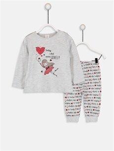Gri Kız Bebek Desenli Pijama Takımı 9W3560Z1 LC Waikiki