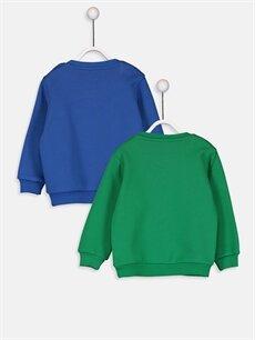 %66 Pamuk %34 Polyester  Erkek Bebek Baskılı Sweatshirt 2'li