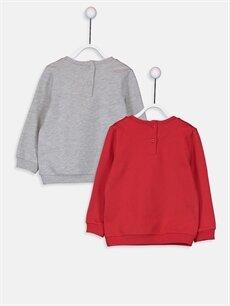 %67 Pamuk %33 Polyester  Kız Bebek Baskılı Sweatshirt 2'li