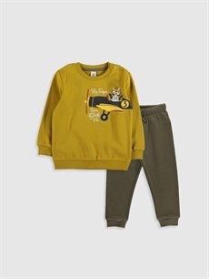 Sarı Erkek Bebek Baskılı Sweatshirt ve Pantolon 9W5986Z1 LC Waikiki