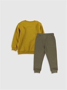 %100 Pamuk  Erkek Bebek Baskılı Sweatshirt ve Pantolon