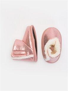 %0 Tekstil malzemeleri (%100 poliester)  Kız Bebek Parlak Ev Ayakkabısı