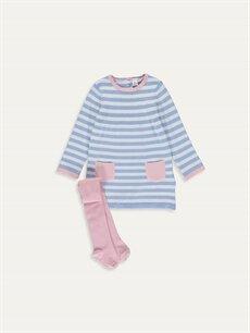 Mavi Kız Bebek Triko Elbise ve Külotlu Çorap 9W6667Z1 LC Waikiki