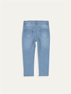 %90 Pamuk %8 Polyester %2 Elastan Dar Kız Bebek Nakışlı Jean Pantolon