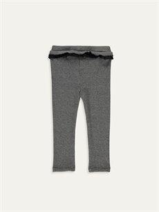 %81 Polyester %2 Elastan %17 Viskoz  Kız Bebek Slim Fıt Fırfırlı Pantolon