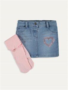 İndigo Kız Bebek Jean Etek ve Külotlu Çorap 9W8843Z1 LC Waikiki