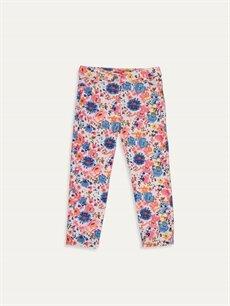 Ekru Kız Bebek Desenli Pantolon 9W9195Z1 LC Waikiki