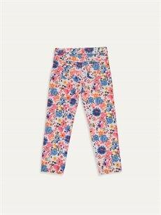 %96 Pamuk %4 Elastan Normal Bel Kız Bebek Desenli Pantolon