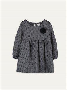 Gri Kız Bebek Desenli Elbise 9W9228Z1 LC Waikiki