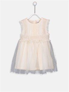 Ekru Kız Bebek Tül Elbise 9WG293Z1 LC Waikiki