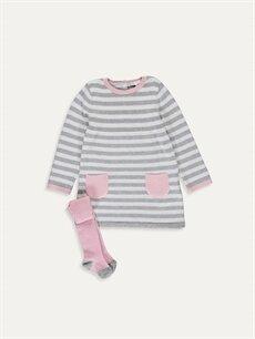 Gri Kız Bebek İnce Elbise ve Külotlu Çorap 9WG381Z1 LC Waikiki