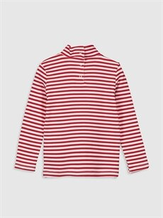 %95 Pamuk %5 Elastan Standart Baskılı Uzun Kol Tişört Balıkçı Yaka Kız Bebek Pamuklu Tişört