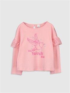Pembe Kız Bebek Desenli Pamuklu Tişört 9WH715Z1 LC Waikiki