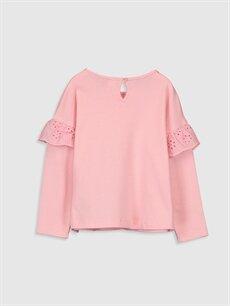 %100 Pamuk Standart Baskılı Uzun Kol Tişört Bisiklet Yaka Kız Bebek Desenli Pamuklu Tişört