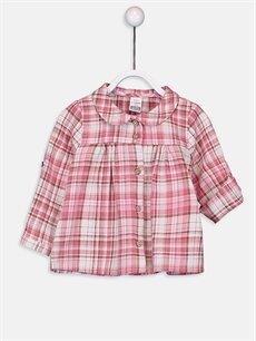 Ekru Kız Bebek Ekose Flanel Gömlek 9WI125Z1 LC Waikiki