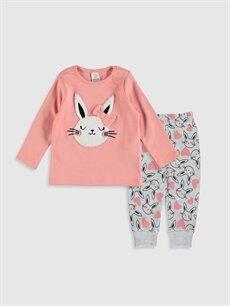 Mercan Kız Bebek Desenli Pijama Takımı 9WI244Z1 LC Waikiki