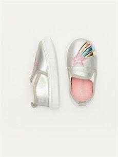 %0 Diğer malzeme (poliüretan) %0 Tekstil malzemeleri (%100 poliester)  Kız Bebek Yıldız Aplikeli Ayakkabı