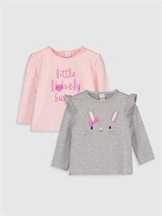 Pembe Kız Bebek Desenli Tişört 2'li 9WK152Z1 LC Waikiki