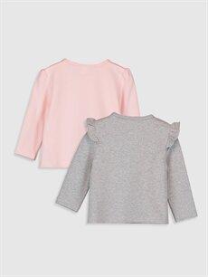 %97 Pamuk %3 Elastan  Kız Bebek Desenli Tişört 2'li