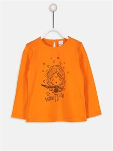 Turuncu Kız Bebek Baskılı Pamuklu Tişört  9WK153Z1 LC Waikiki