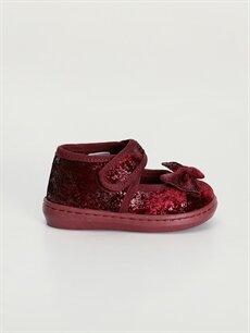 Bordo Kız Bebek Fiyonklu Babet Ayakkabı 9WL214Z1 LC Waikiki