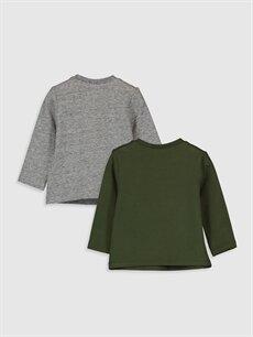 %97 Pamuk %3 Elastan  Erkek Bebek Baskılı Tişört 2'li