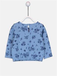 %100 Pamuk Baskılı Uzun Kol Tişört Bisiklet Yaka Standart Kız Bebek Desenli Tişört