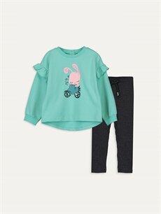 Yeşil Kız Bebek Sweatshirt ve Tayt Takım 9WL999Z1 LC Waikiki