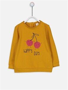 Sarı Kız Bebek Baskılı Sweatshirt 9WM207Z1 LC Waikiki