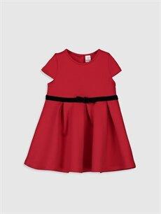 Kırmızı Kız Bebek Kuşak Detaylı Elbise 9WM355Z1 LC Waikiki