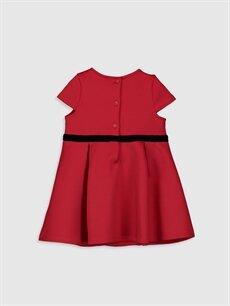 %90 Polyester %10 Elastan Düz Kız Bebek Kuşak Detaylı Elbise