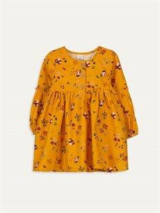 Sarı Kız Bebek Desenli Twill Elbise 9WM750Z1 LC Waikiki