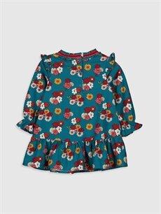 %100 Pamuk Desenli Kız Bebek Desenli Twill Elbise