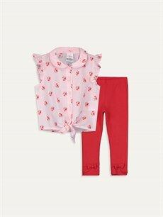 Pembe Kız Bebek Poplin Gömlek ve Tayt 9WN132Z1 LC Waikiki